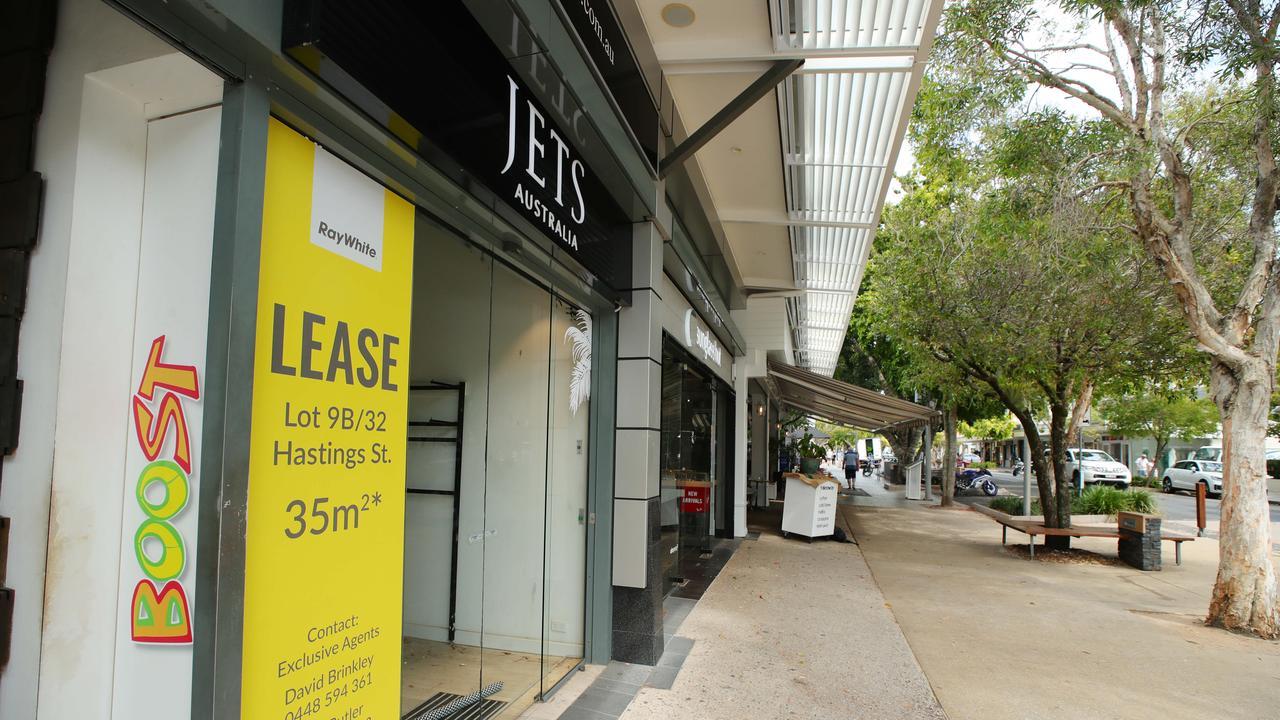 Jets swimwear is one of many empty shopfronts on Hastings Street.