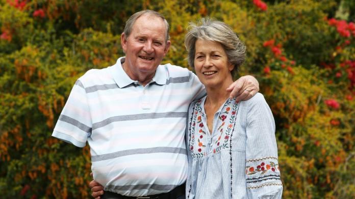 Golfing legend Jack Newton with his wife Jackie at his Newcastle property Augusta. It has been revealed that Jack is now suffering from Alzheimer's disease. Picture by Peter Lorimer.