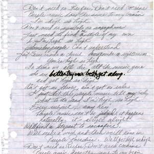 Prince - Purple Music - Handwritten lyrics page 1 (twitter.com/prince)