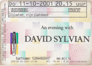 David Sylvian 10/11/2001 concert ticket (apoplife.nl)