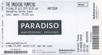 Smashing Pumpkins 07/26/2013 concert ticket (apoplife.nl)