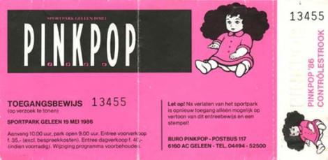 Pinkpop 1986 concertkaartje (www.cure-concerts.de)