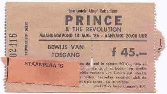 Prince & The Revolution 18-08-1986 concertkaartje (apoplife.nl)