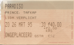 The Artist Formerly Known As Prince 26-03-1995/27-03-1995 concertkaartje (apoplife.nl)