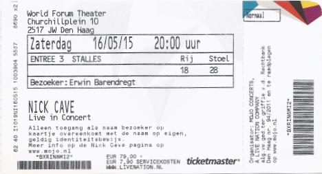 Nick Cave 16-05-2015 concertkaartje (apoplife.nl)