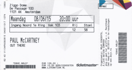 Paul McCartney 08-06-2015 concertkaartje (apoplife.nl)