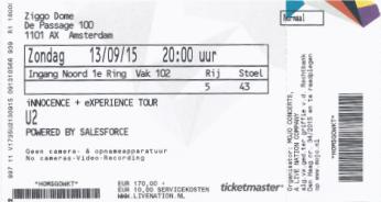 U2 13-09-2015 concertkaartje (apoplife.nl)
