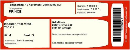 Prince 18-11-2010 concertkaartje (apoplife.nl)