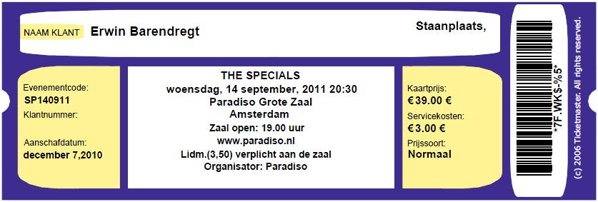 The Specials 14-09-2011 concertkaartje (apoplife.nl)