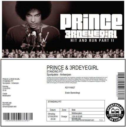Prince & 3rdEyeGirl 27-05-2014 concertkaartje (apoplife.nl)