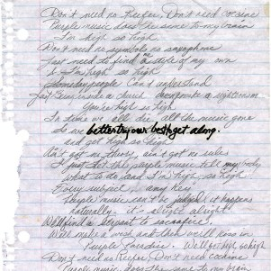 Prince - Purple Music - Handgeschreven tekst pagina 1 (twitter.com/prince)
