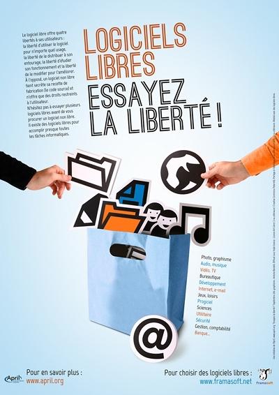 Affiche Logiciels libres, essayez la liberté