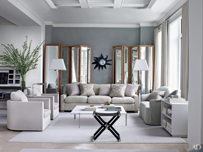 This Is An Example Of A Modern Formal Enclosed Living Room In London With Grey Walls