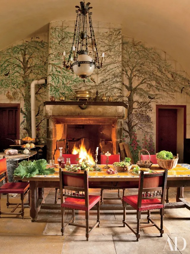 Kitchen Fireplace Home Design Ideas Photos   Architectural Digest Warm Up Next to These Cozy Kitchen Fireplaces