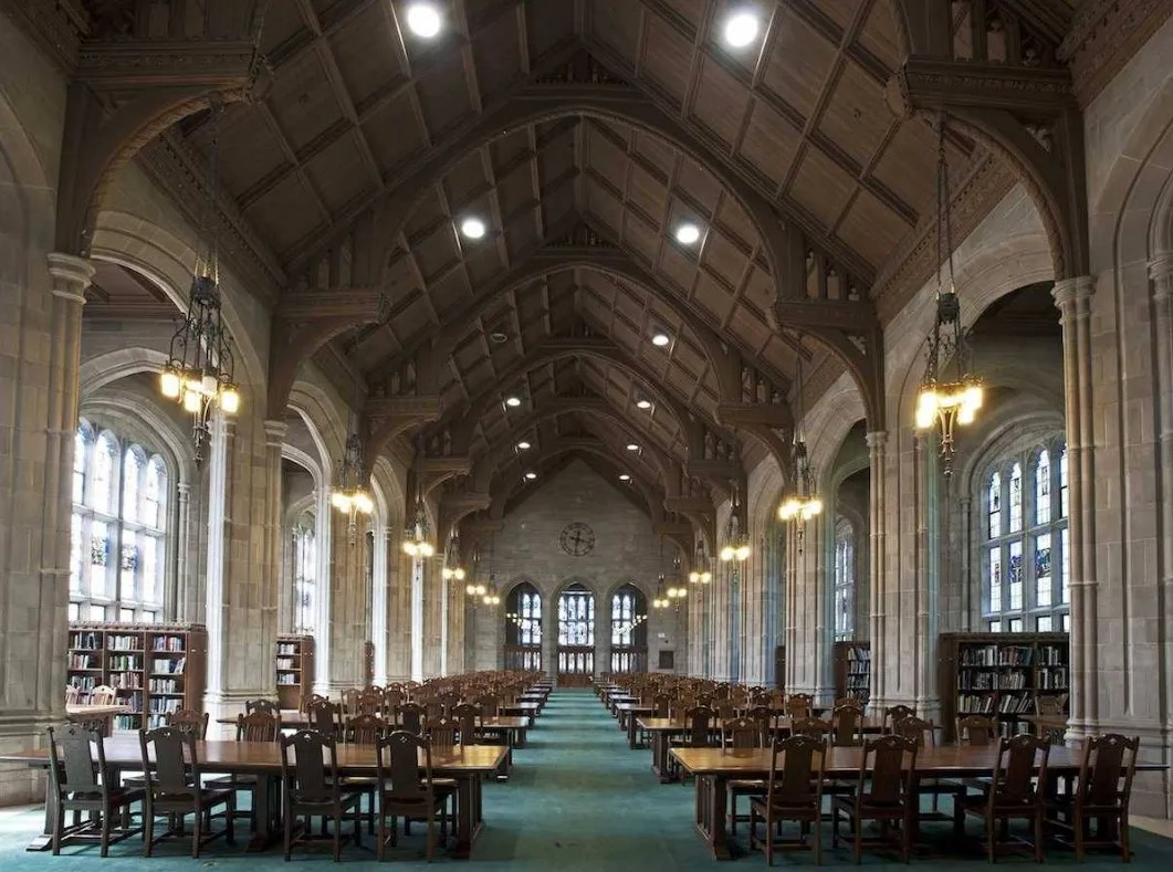 Built in 1928 on the campus of Boston College, Bapst Library is a Gothic structure that features beautifully arched windows throughout, bringing in an abundance of natural light.