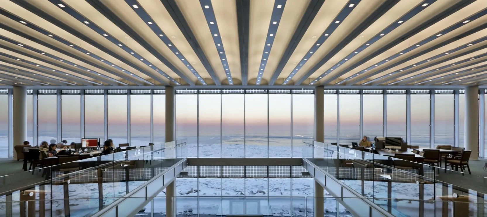 Built in 2007 by local firm Solomon Cordwell Buenz, the Richard J. Klarchek Library at Loyola University Chicago gives students unparalleled views of Lake Michigan.
