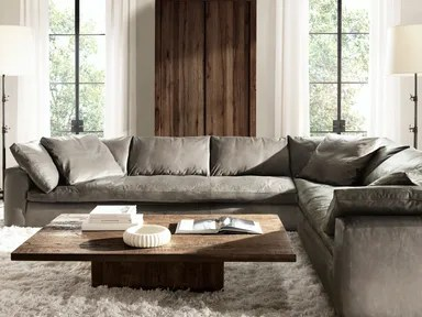 How To Clean Leather Furniture  Leather Couch Care   Architectural     RH s Cloud Sectional in Pewter Italian Milano Leather