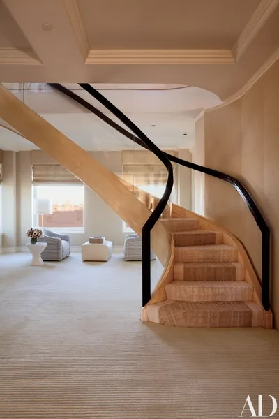15 Striking Modern Staircases Architectural Digest   Ceiling Design For Stairs Area   Wall Light   Reception   Internal Staircase Wall   Interior   Show Room