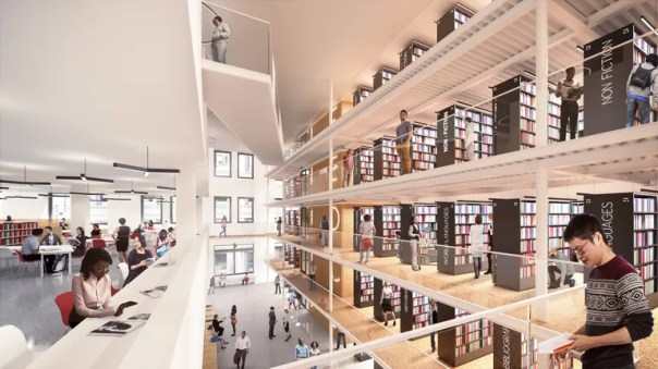 Rendering of the forthcoming NYPL Mid-Manhattan Branch.