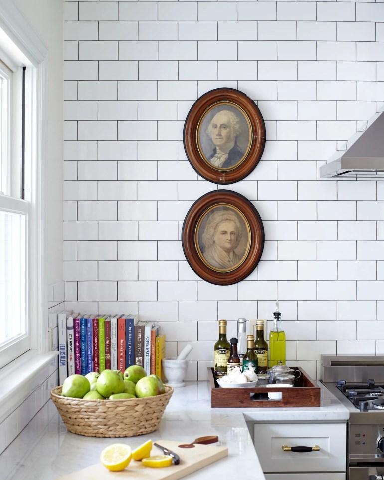 corner of Alexander Reid's kitchen with antique portraits