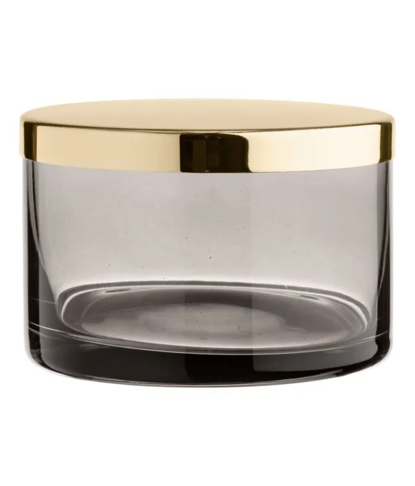 Glass trinket box with brass lid