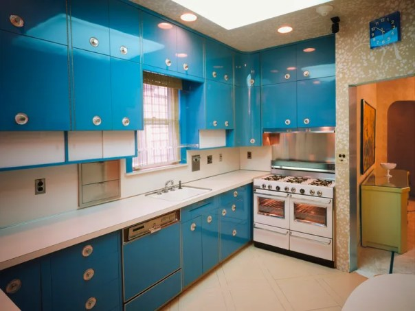 The kitchen is perhaps the favorite room of visitors, with its turquoise lacquered cabinets