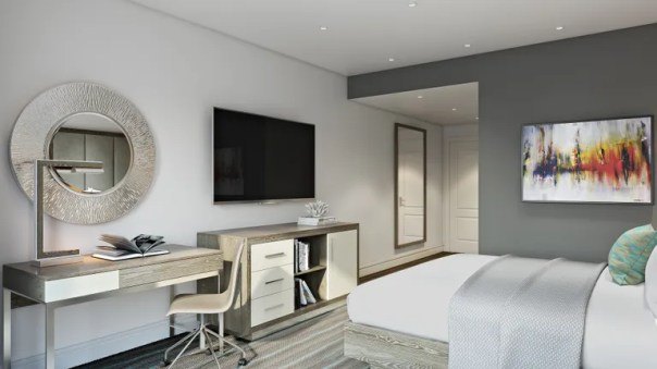 A rendering of a sleek guestroom at the soon-to-open Hotel Paseo.