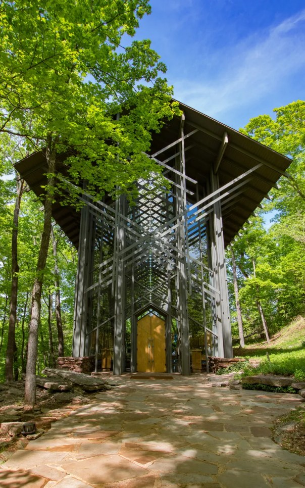 Eureka Springs, Arkansas woodland sanctuary that rises forty-eight feet as it reaches for the Ozark skies; consists of 425 windows, over 6,000 SF of glass