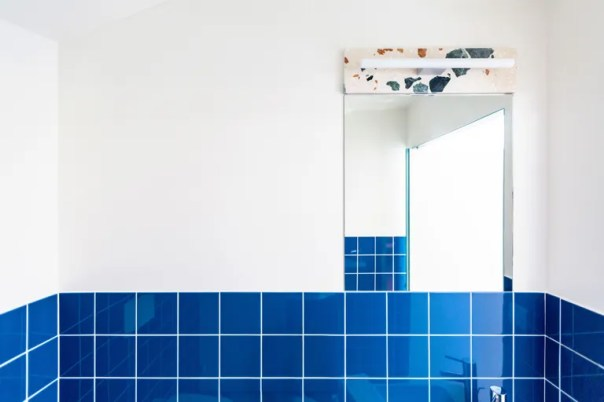 blue tile with marmoreal accent