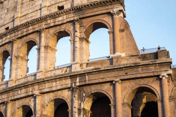 A detail of the Colosseum's travertine façade.