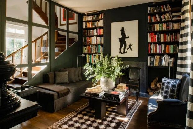 Everyones favorite room in fashion designer Jason Basmajian's house near Paris the Farrow and Ballpainted library. The...