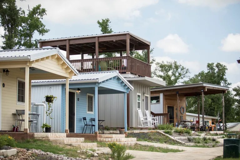a series of small homes with front porches