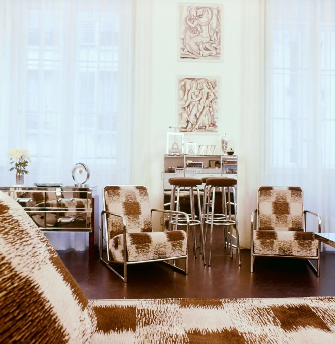 Pthe Libraryworkroom In Lagerfeld S Former Apartment Paris Features Steelframed Armchairs And A Daybed From The