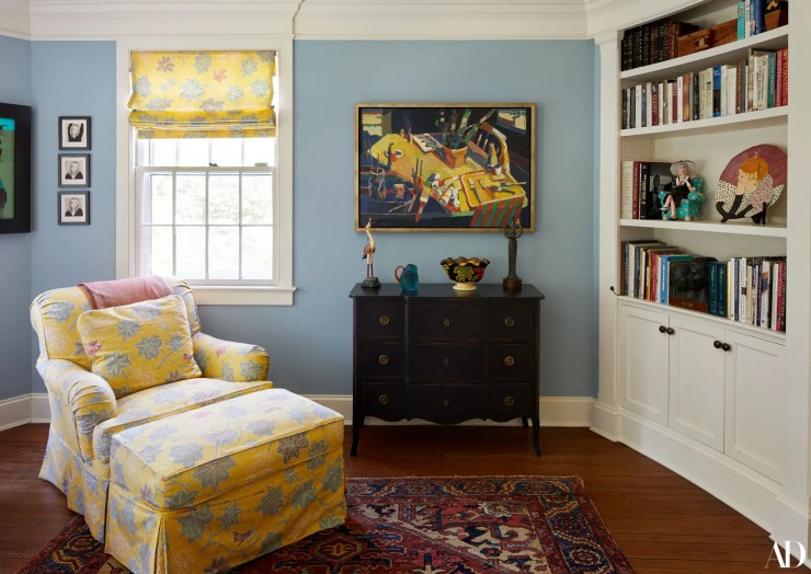 The family room on the second floor features this cheerful China Seas fabric again in Ms. Clintons favorite color. This...