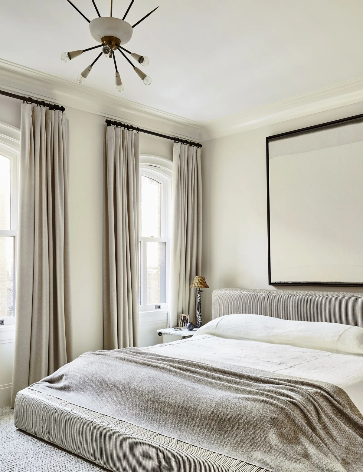 In the master bedroom the RH bed is covered in a linen by Rose Tarlow Melrose House. RH linens 1950's Italian chandelier...