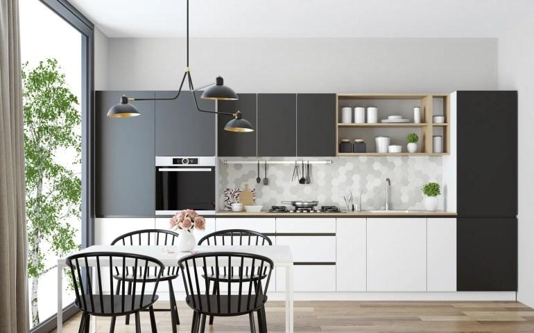 Kısmen mutfak kısmı yemek odası olan bu modern İskandinav alanı gibi küçük mutfak fikirlerini ve tasarımlarını keşfedin.