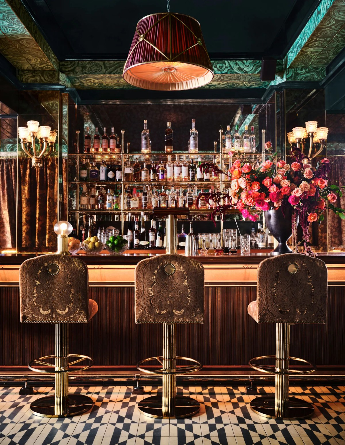 The bar at the new Carbone outpost in Miami Beach designed by AD100 star Ken Fulk.