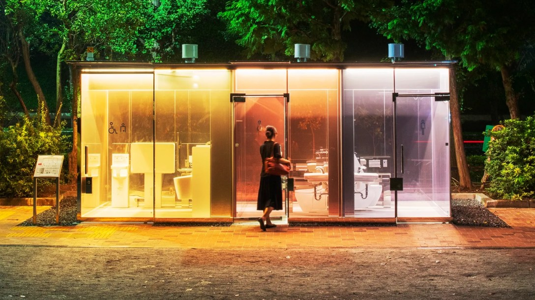 A colorful futuristiclooking public toilet in Tokyo designed by architect Shigeru Ban.