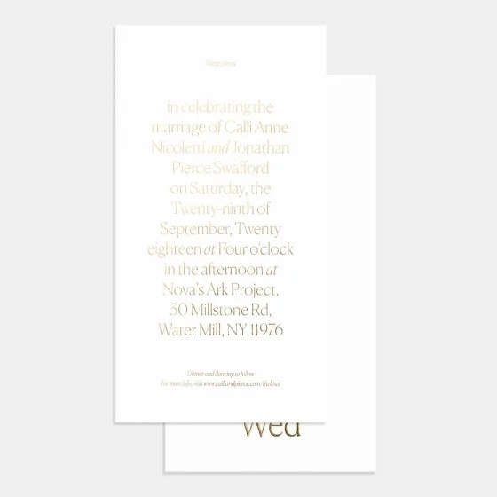Letterpress Simple Serif Wedding Invitation
