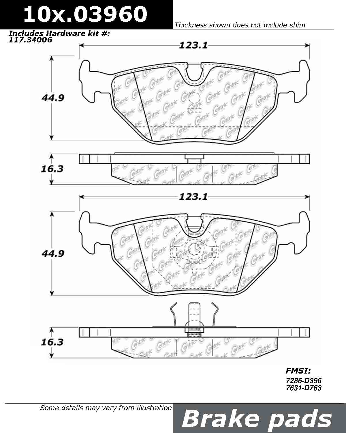 Centric Parts 107 107 Series Axxis Deluxe Plus Brake Pad