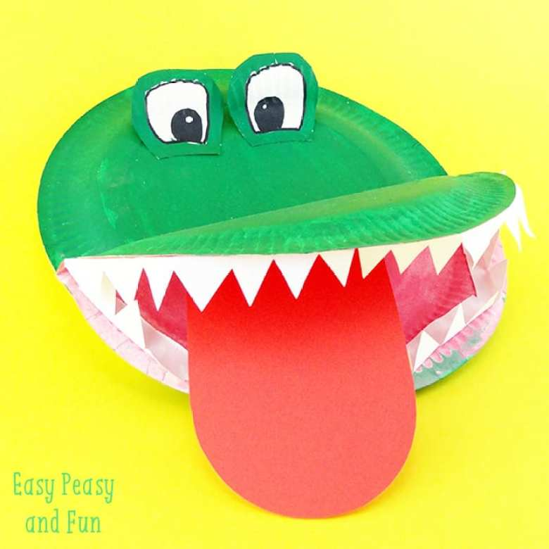 barnpyssel, pyssel för barn, pyssel, enkelt pyssel, pysseltips, pysselidé, papperspyssel, papper, djungeldjur, papperstallrik, krokodil