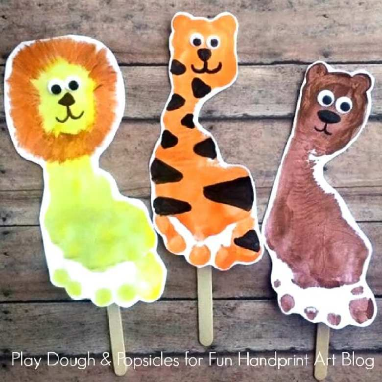 barnpyssel, pyssel för barn, pyssel, enkelt pyssel, pysseltips, fotavtryck, fotavtrycksdjur, djungeldjur, måla, trycka, målarfärg