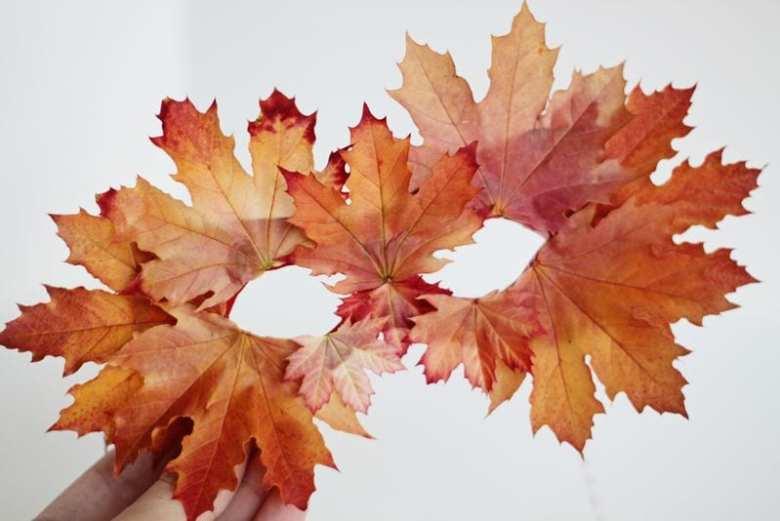 höstpyssel, pyssel, pysseltips, pyssla, barnpyssel, pyssel för barn, mask, halloweenmask, löv, höstlöv