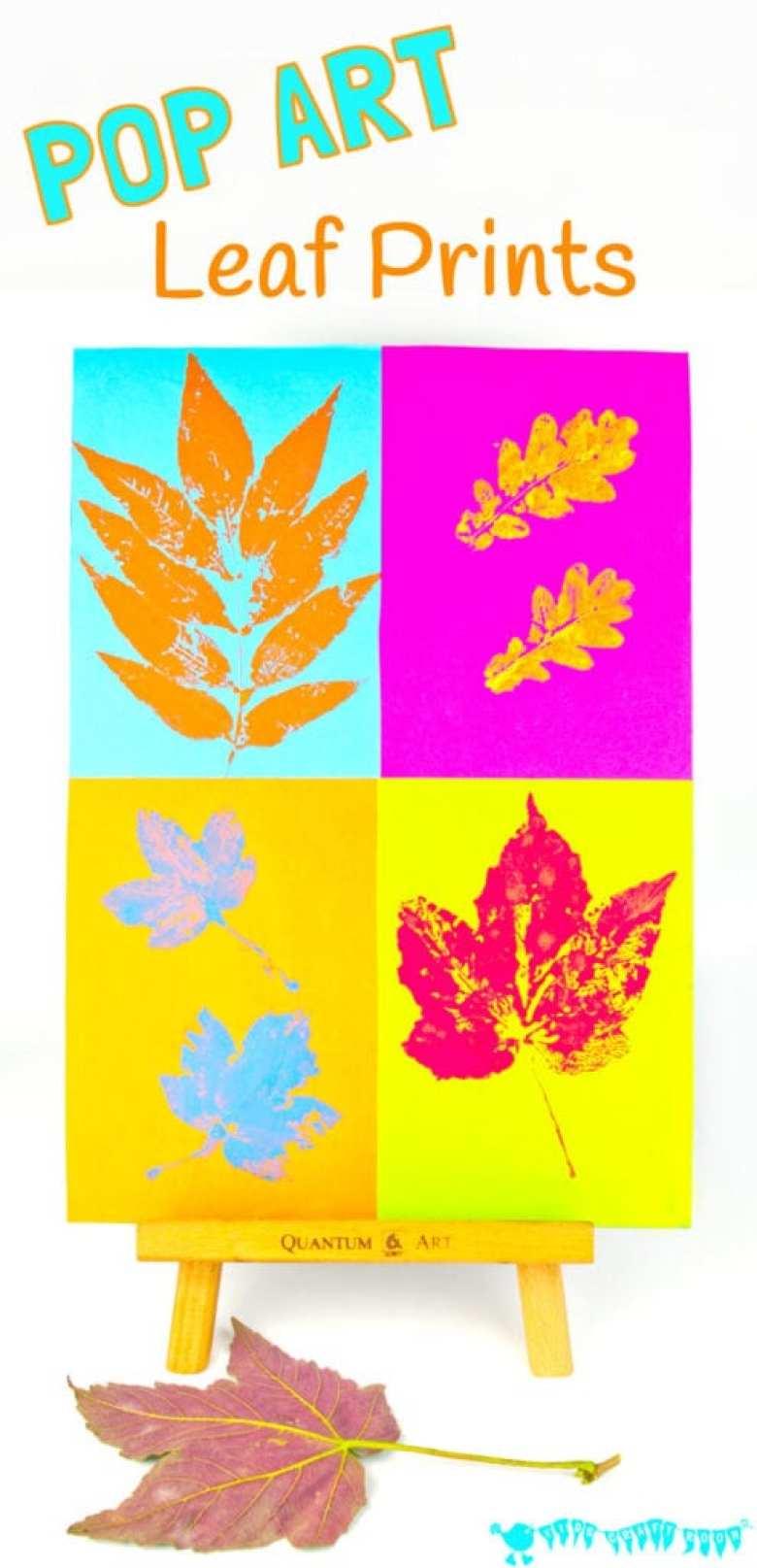 höstpyssel, pyssel, pysseltips, pyssla, barnpyssel, pyssel för barn, popart, pop art, lövtryck, trycka med löv, höstlöv