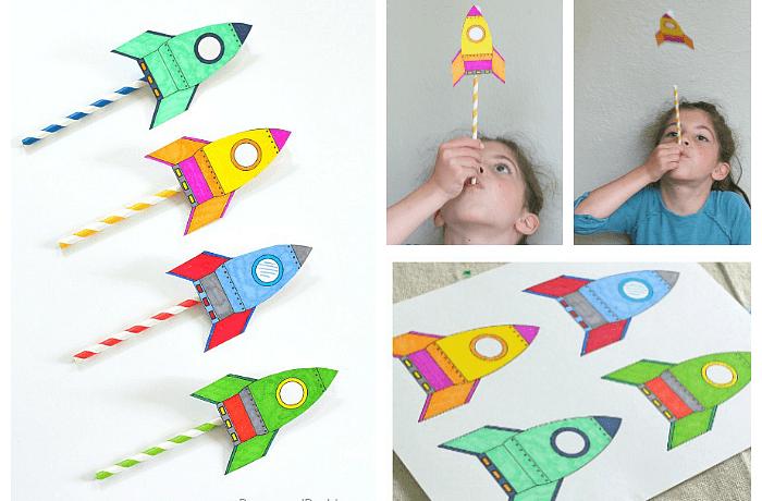 pyssel, barnpyssel, pyssel för barn, aktiviteter, aktiviteter för barn, flygande raket, raketer, rymdraketer, sugrör, papperspyssel
