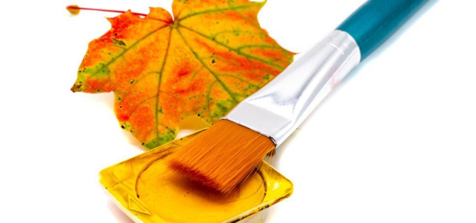 måla höstlöv i akvarell