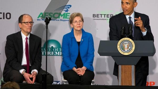 President Obama with Sen. Elizabeth Warren and DOL Secretary Thomas Perez (photo: AP)