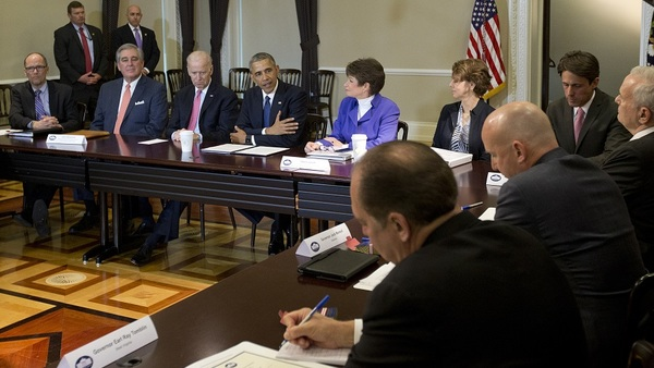 President Barack Obama speaks to media during the Democratic Governors Association Meeting Feb. 19; Sec. of Labor Perez is seated far left. (Photo: AP)