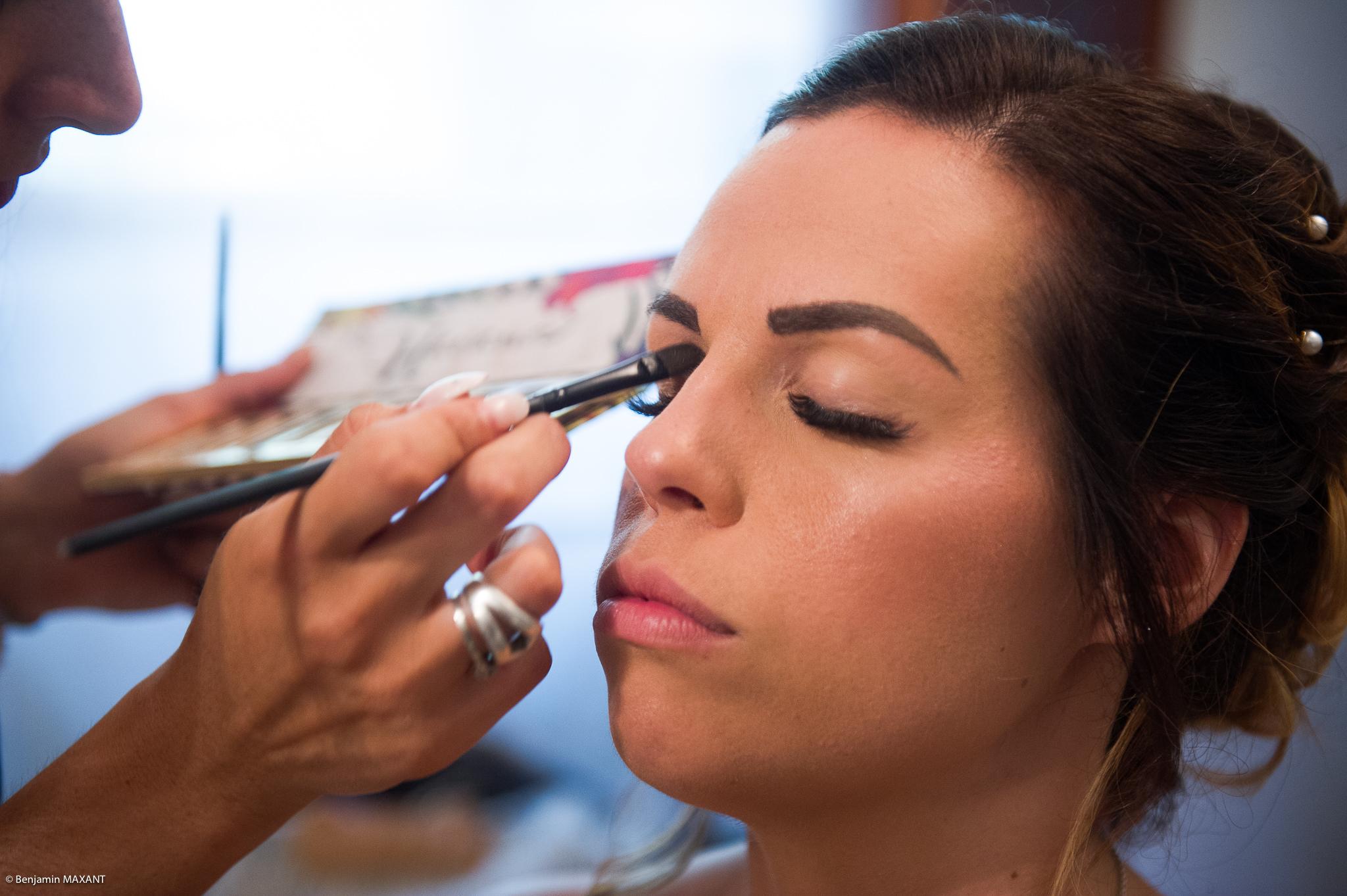 Maquillage de Laetitia - lors del a préparation de la mariée