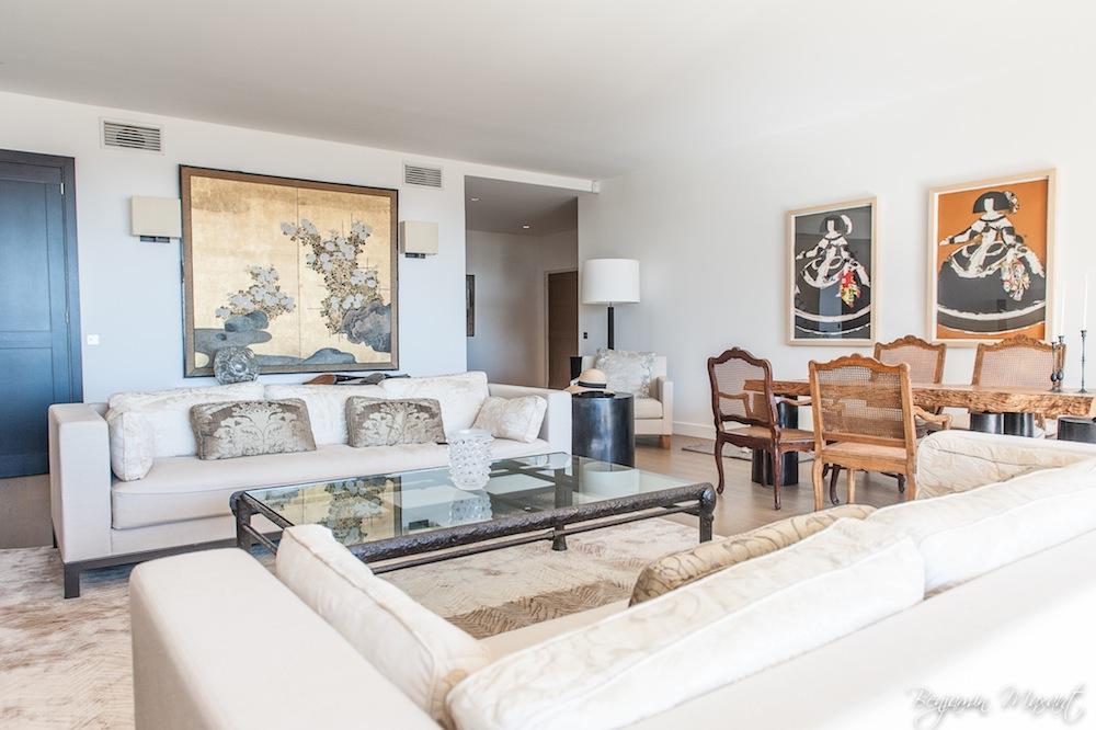 photographe immobilier - shooting photo appartement - salon d'un appartement à Cannes